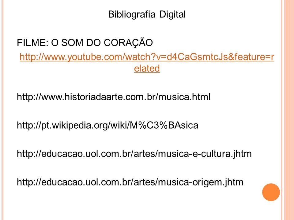 Bibliografia Digital FILME: O SOM DO CORAÇÃO http://www.youtube.com/watch?v=d4CaGsmtcJs&feature=r elated http://www.historiadaarte.com.br/musica.html