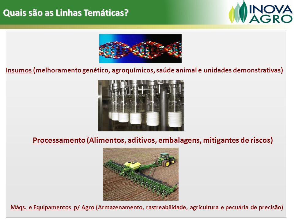 Insumos (melhoramento genético, agroquímicos, saúde animal e unidades demonstrativas) Processamento (Alimentos, aditivos, embalagens, mitigantes de ri