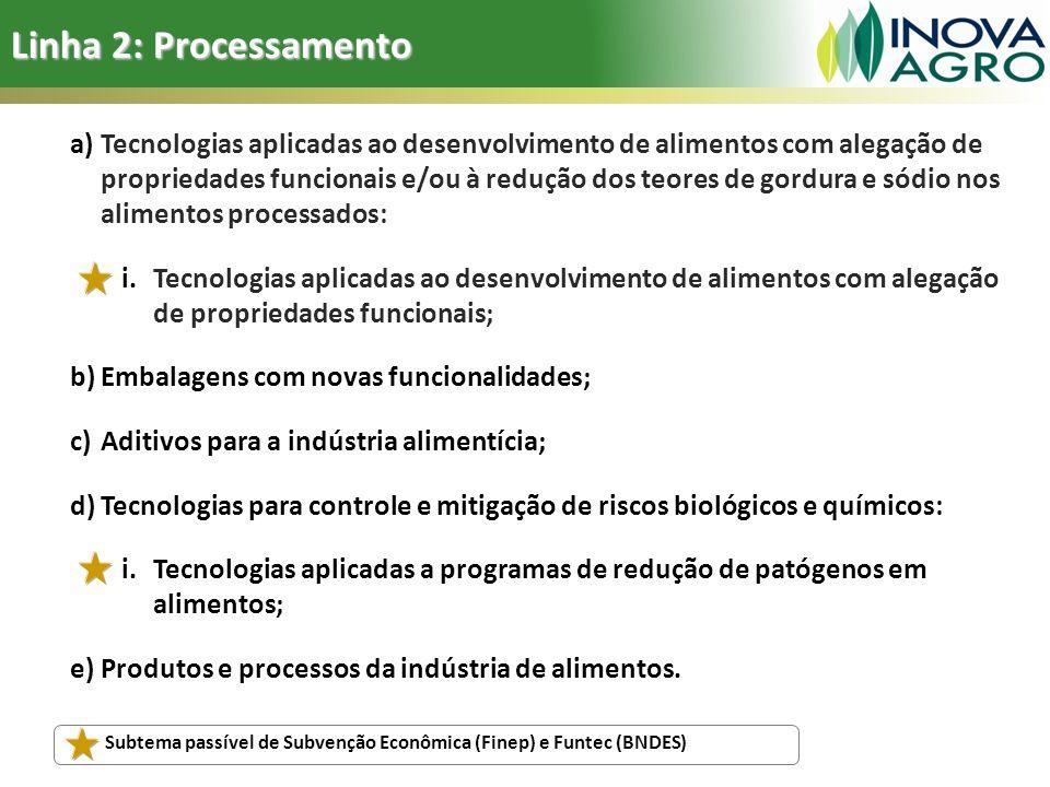Linha 2: Processamento a)Tecnologias aplicadas ao desenvolvimento de alimentos com alegação de propriedades funcionais e/ou à redução dos teores de go
