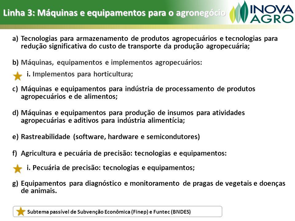 Linha 3: Máquinas e equipamentos para o agronegócio a)Tecnologias para armazenamento de produtos agropecuários e tecnologias para redução significativ