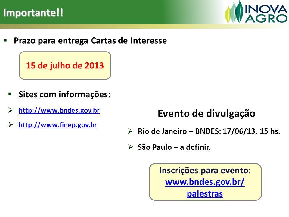Importante!! Prazo para entrega Cartas de Interesse 15 de julho de 2013 Inscrições para evento: www.bndes.gov.br/ palestras www.bndes.gov.br/ palestra