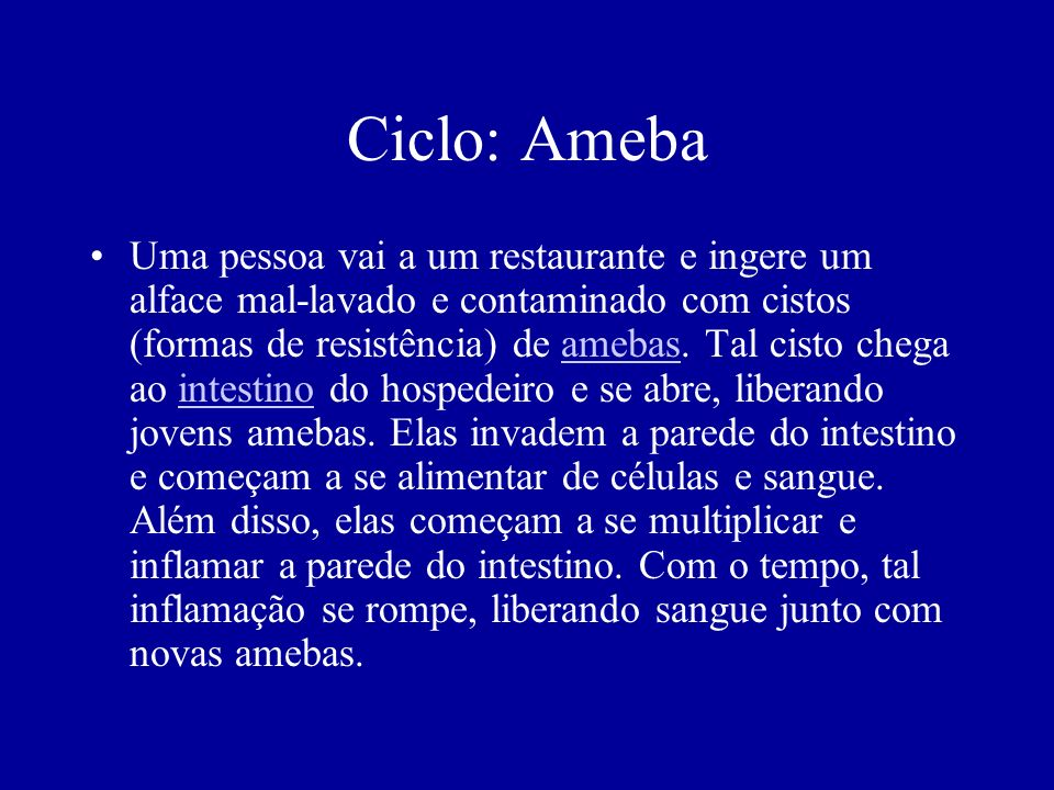 Ciclo: Ameba Uma pessoa vai a um restaurante e ingere um alface mal-lavado e contaminado com cistos (formas de resistência) de amebas. Tal cisto chega