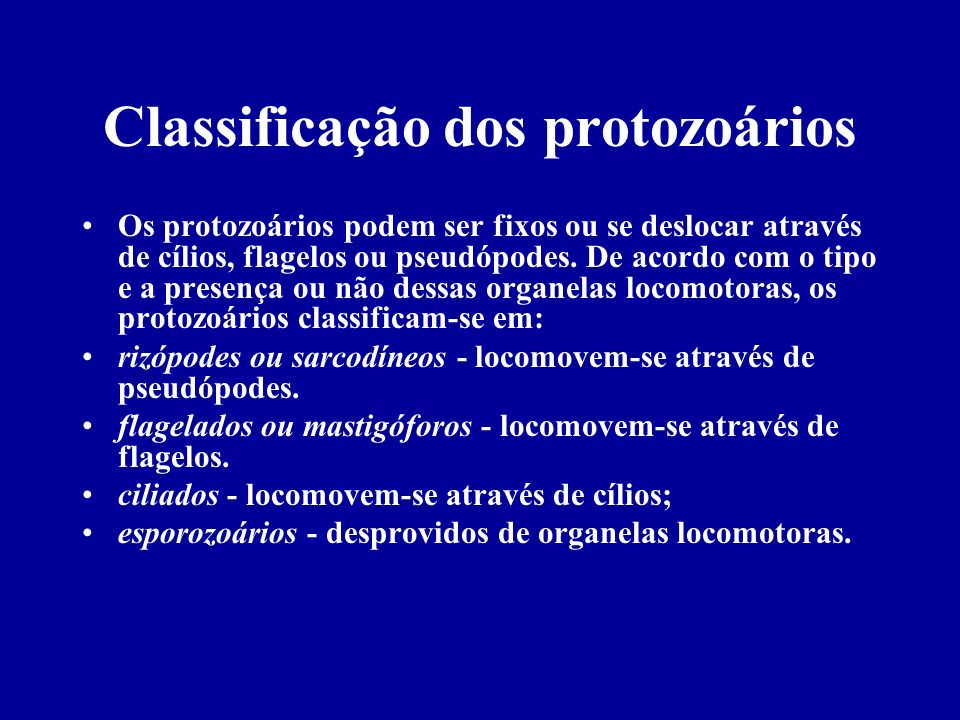 Classificação dos protozoários Sarcodíneos ou Rizópodos Locomoção por pseudópodos.