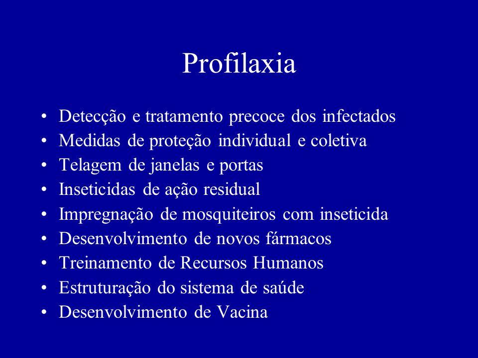 Profilaxia Detecção e tratamento precoce dos infectados Medidas de proteção individual e coletiva Telagem de janelas e portas Inseticidas de ação resi