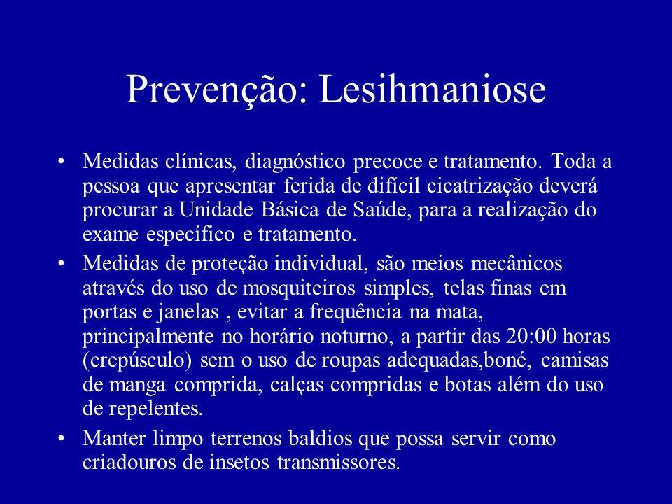 Prevenção: Lesihmaniose Medidas clínicas, diagnóstico precoce e tratamento. Toda a pessoa que apresentar ferida de difícil cicatrização deverá procura