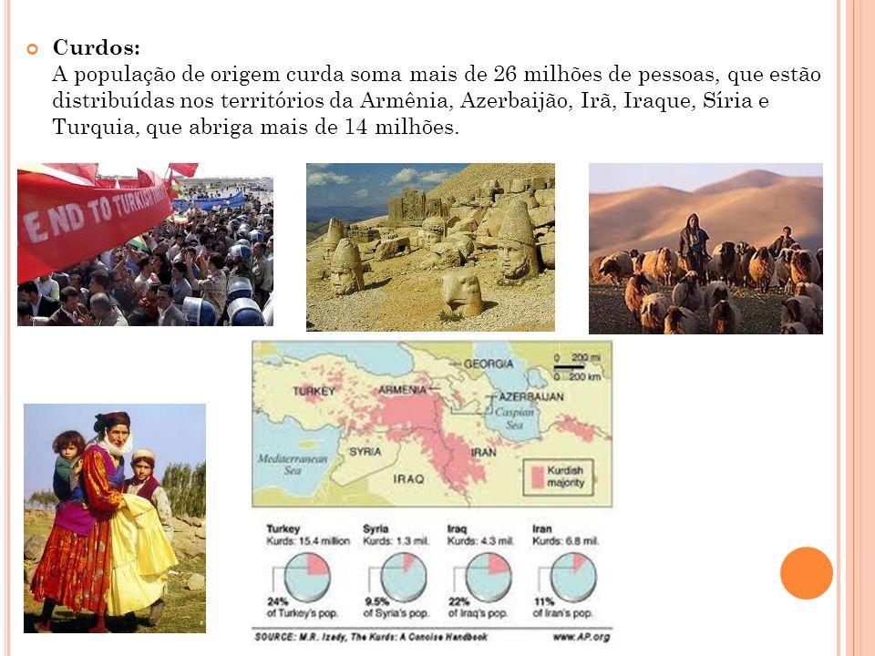 Curdos: A população de origem curda soma mais de 26 milhões de pessoas, que estão distribuídas nos territórios da Armênia, Azerbaijão, Irã, Iraque, Sí