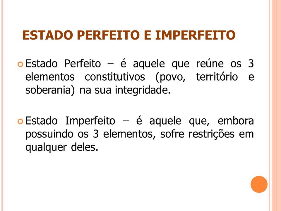 ESTADO PERFEITO E IMPERFEITO Estado Perfeito – é aquele que reúne os 3 elementos constitutivos (povo, território e soberania) na sua integridade. Esta