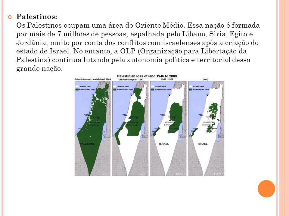 Palestinos: Os Palestinos ocupam uma área do Oriente Médio. Essa nação é formada por mais de 7 milhões de pessoas, espalhada pelo Líbano, Síria, Egito