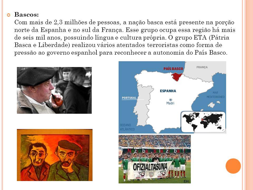 Bascos: Com mais de 2,3 milhões de pessoas, a nação basca está presente na porção norte da Espanha e no sul da França. Esse grupo ocupa essa região há