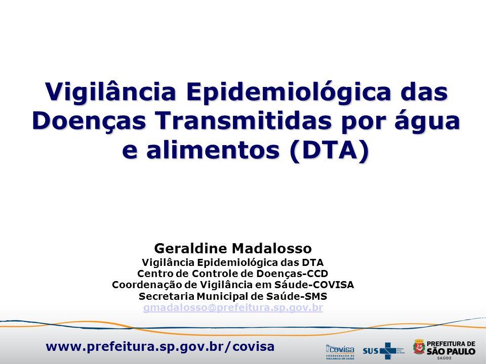 Vigilância Epidemiológica das Doenças Transmitidas por água e alimentos (DTA) Geraldine Madalosso Vigilância Epidemiológica das DTA Centro de Controle