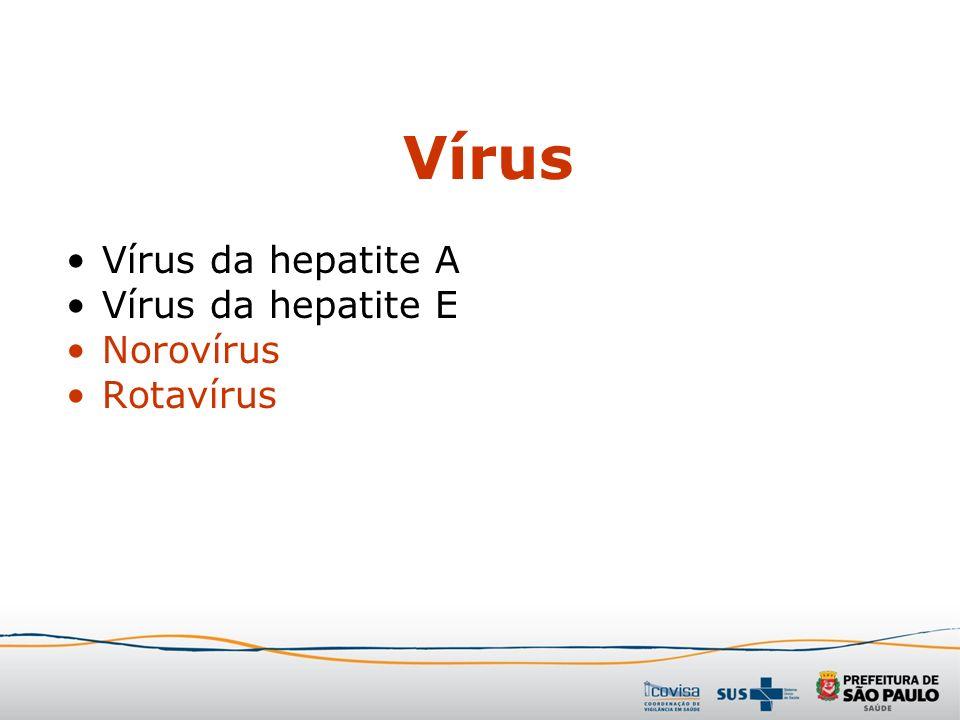 Vírus Vírus da hepatite A Vírus da hepatite E Norovírus Rotavírus
