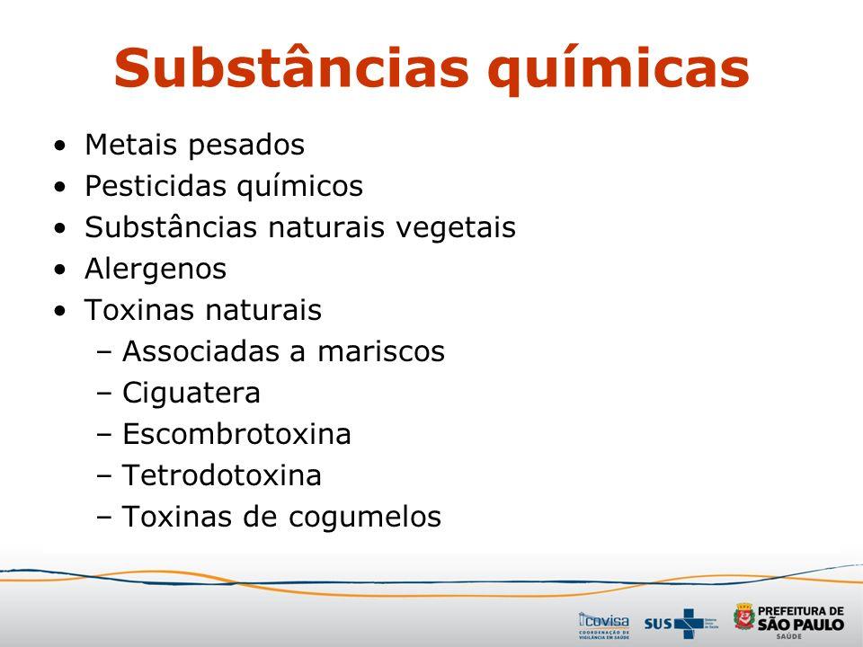 Substâncias químicas Metais pesados Pesticidas químicos Substâncias naturais vegetais Alergenos Toxinas naturais –Associadas a mariscos –Ciguatera –Es