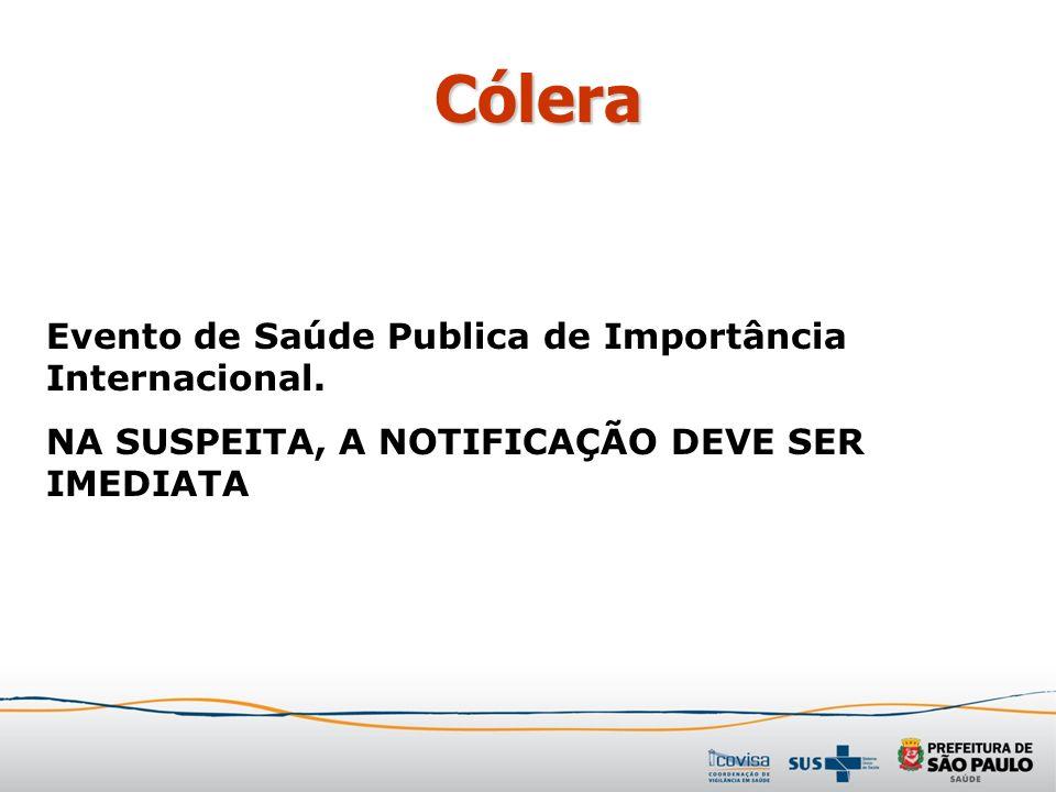 Cólera Evento de Saúde Publica de Importância Internacional. NA SUSPEITA, A NOTIFICAÇÃO DEVE SER IMEDIATA