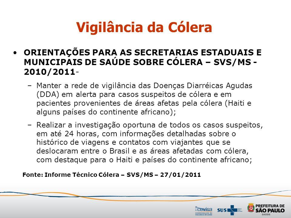 ORIENTAÇÕES PARA AS SECRETARIAS ESTADUAIS E MUNICIPAIS DE SAÚDE SOBRE CÓLERA – SVS/MS - 2010/2011- –Manter a rede de vigilância das Doenças Diarréicas