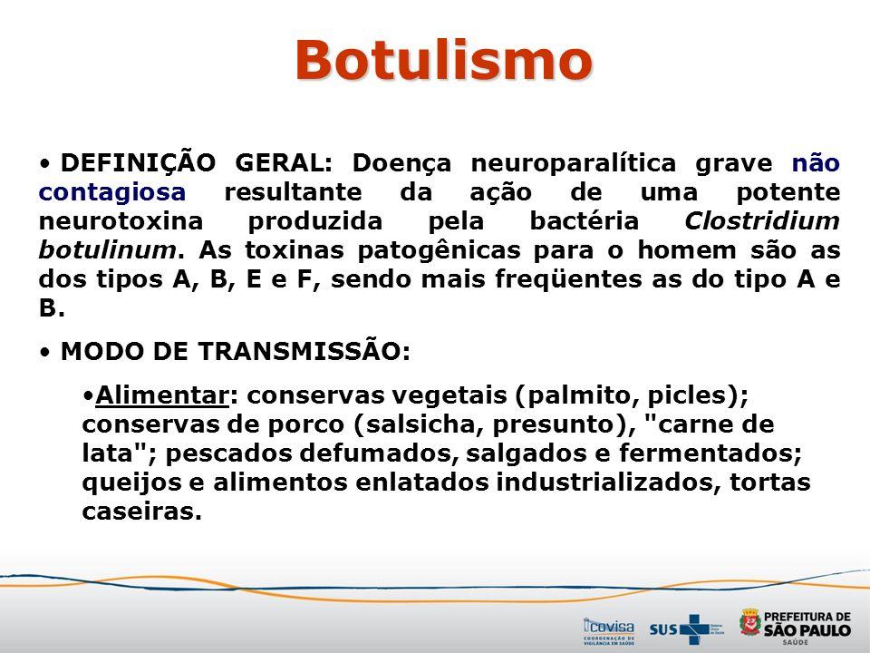 Botulismo DEFINIÇÃO GERAL: Doença neuroparalítica grave não contagiosa resultante da ação de uma potente neurotoxina produzida pela bactéria Clostridi