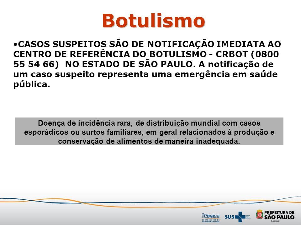 Botulismo CASOS SUSPEITOS SÃO DE NOTIFICAÇÃO IMEDIATA AO CENTRO DE REFERÊNCIA DO BOTULISMO - CRBOT (0800 55 54 66) NO ESTADO DE SÃO PAULO. A notificaç