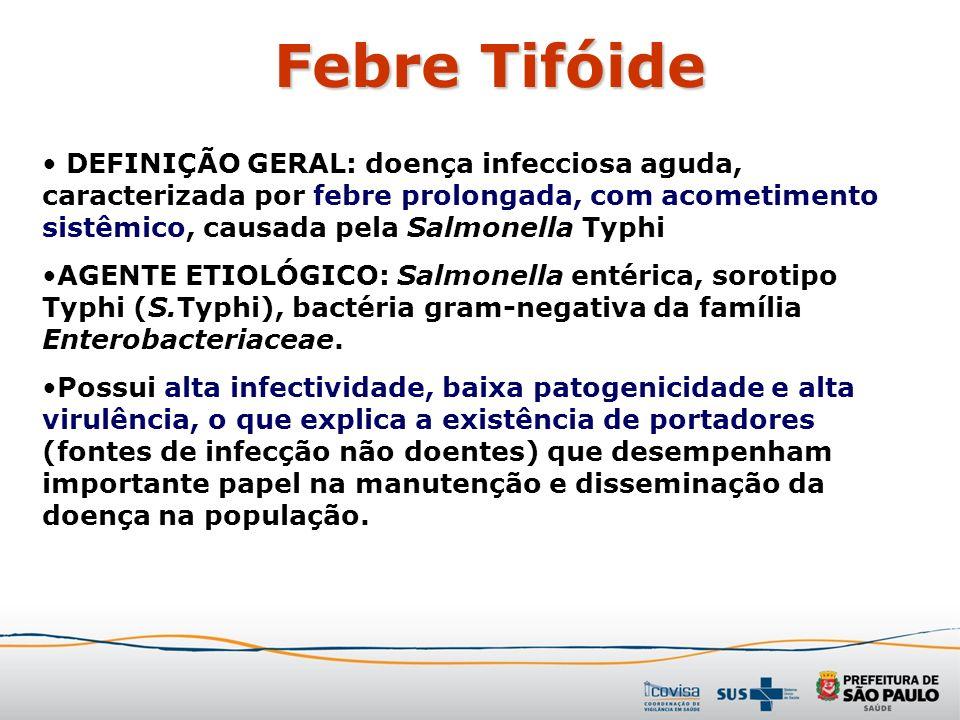 Febre Tifóide DEFINIÇÃO GERAL: doença infecciosa aguda, caracterizada por febre prolongada, com acometimento sistêmico, causada pela Salmonella Typhi