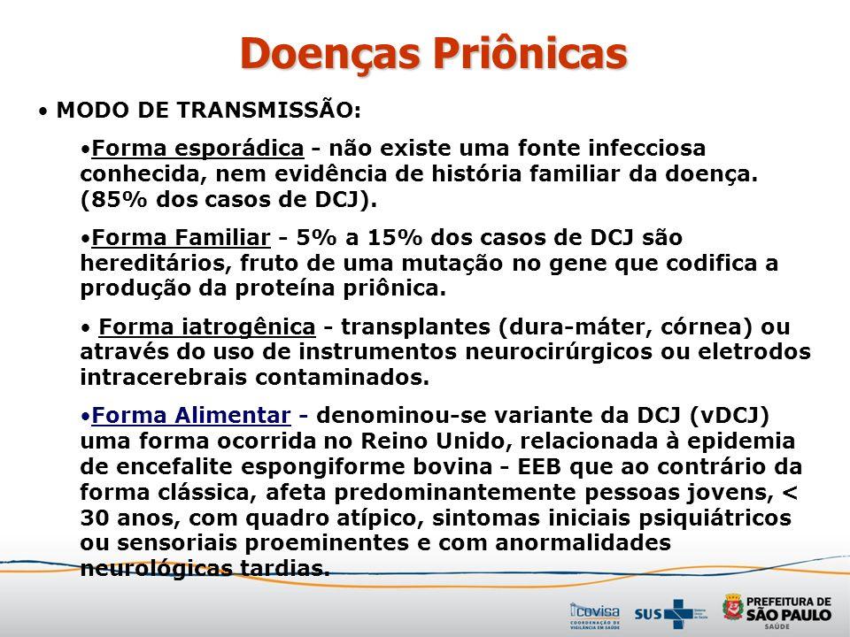 Doenças Priônicas MODO DE TRANSMISSÃO: Forma esporádica - não existe uma fonte infecciosa conhecida, nem evidência de história familiar da doença. (85