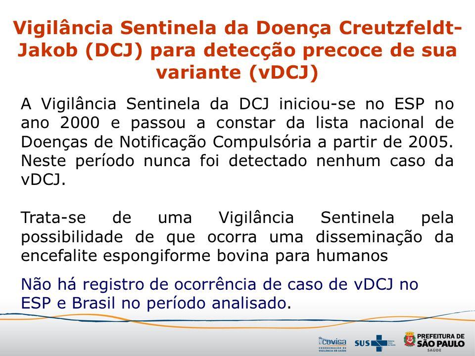 A Vigilância Sentinela da DCJ iniciou-se no ESP no ano 2000 e passou a constar da lista nacional de Doenças de Notificação Compulsória a partir de 200
