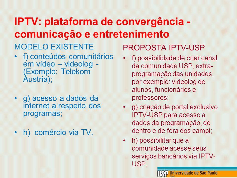IPTV: plataforma de convergência - comunicação e entretenimento MODELO EXISTENTE f) conteúdos comunitários em vídeo – videolog - (Exemplo: Telekom Áustria); g) acesso a dados da internet a respeito dos programas; h) comércio via TV.