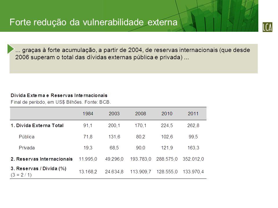 ... graças à forte acumulação, a partir de 2004, de reservas internacionais (que desde 2006 superam o total das dívidas externas pública e privada)...