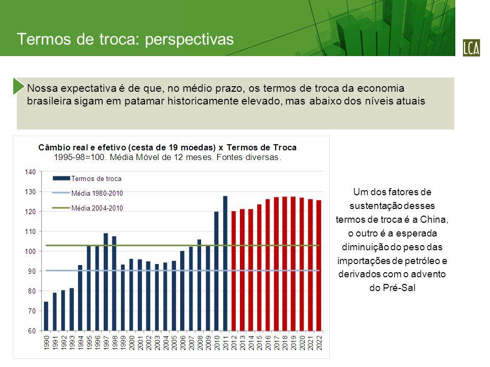 Nossa expectativa é de que, no médio prazo, os termos de troca da economia brasileira sigam em patamar historicamente elevado, mas abaixo dos níveis a