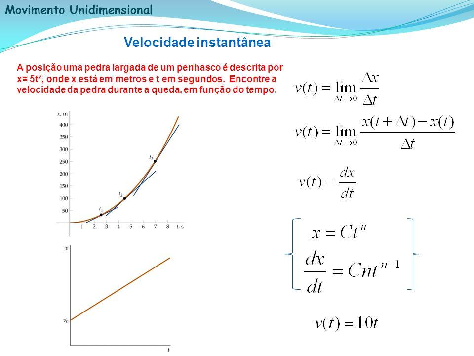 Movimento Unidimensional Velocidade instantânea A posição uma pedra largada de um penhasco é descrita por x= 5t 2, onde x está em metros e t em segund