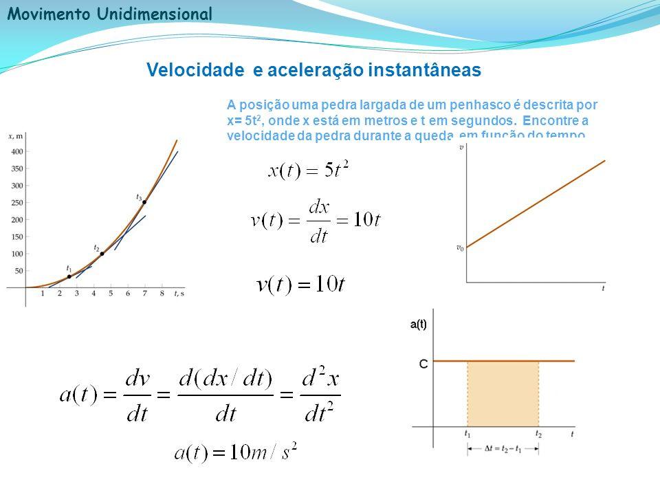 Movimento Unidimensional Velocidade e aceleração instantâneas A posição uma pedra largada de um penhasco é descrita por x= 5t 2, onde x está em metros