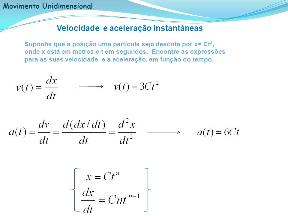 Movimento Unidimensional Velocidade e aceleração instantâneas Suponha que a posição uma partícula seja descrita por x= Ct 3, onde x está em metros e t