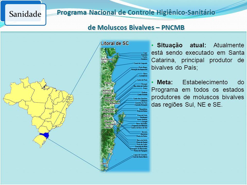 Programa Nacional de Controle Higiênico-Sanitário de Moluscos Bivalves – PNCMB Sanidade Situação atual: Atualmente está sendo executado em Santa Catar