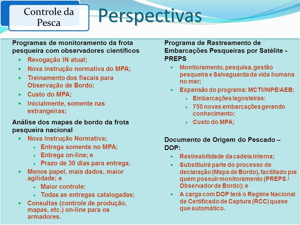 Programas de monitoramento da frota pesqueira com observadores científicos Revogação IN atual; Nova instrução normativa do MPA; Treinamento dos fiscai
