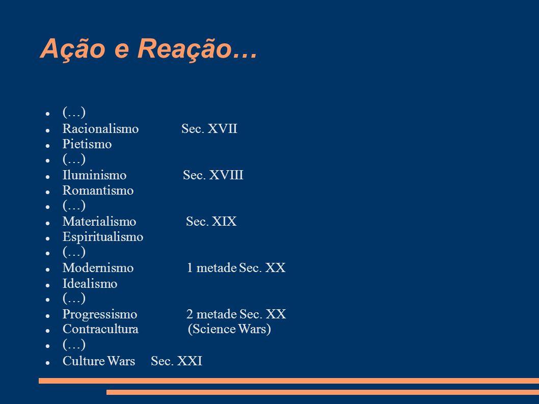 Ação e Reação… (…) Racionalismo Sec. XVII Pietismo (…) Iluminismo Sec.