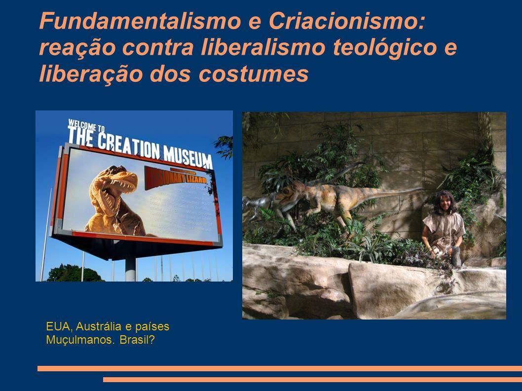 Fundamentalismo e Criacionismo: reação contra liberalismo teológico e liberação dos costumes EUA, Austrália e países Muçulmanos.