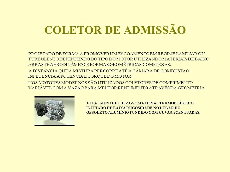 COLETOR DE ADMISSÃO PROJETADO DE FORMA A PROMOVER UM ESCOAMENTO EM REGIME LAMINAR OU TURBULENTO DEPENDENDO DO TIPO DO MOTOR UTILIZANDO MATERIAIS DE BAIXO ARRASTE AERODINÂMICO E FORMAS GEOMÉTRICAS COMPLEXAS.