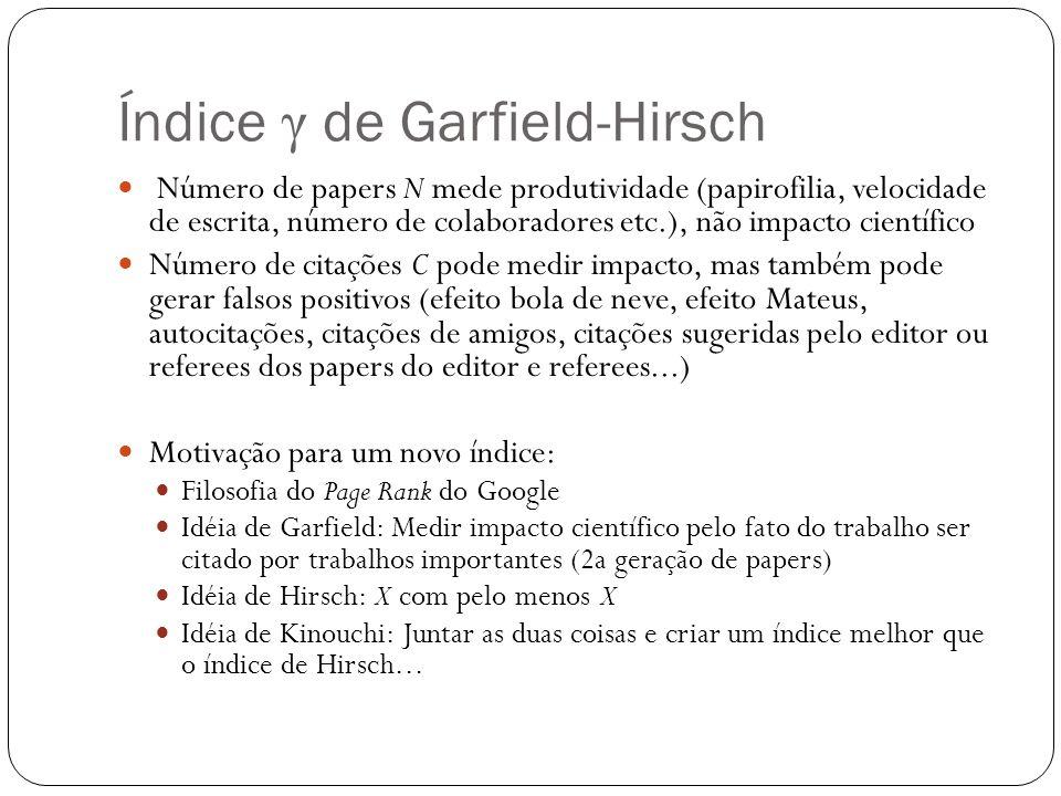 Índice γ de Garfield-Hirsch Número de papers N mede produtividade (papirofilia, velocidade de escrita, número de colaboradores etc.), não impacto cien