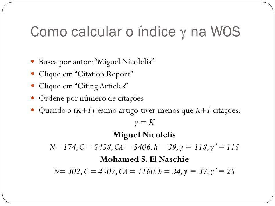 Como calcular o índice γ na WOS Busca por autor: Miguel Nicolelis Clique em Citation Report Clique em Citing Articles Ordene por número de citações Qu