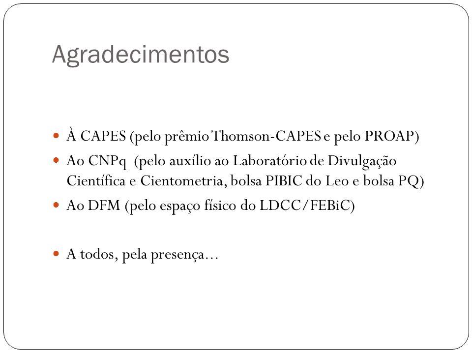 Agradecimentos À CAPES (pelo prêmio Thomson-CAPES e pelo PROAP) Ao CNPq (pelo auxílio ao Laboratório de Divulgação Científica e Cientometria, bolsa PI