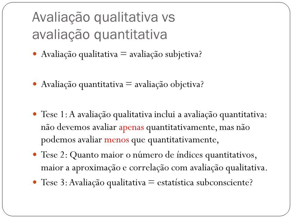 Avaliação qualitativa vs avaliação quantitativa Avaliação qualitativa = avaliação subjetiva? Avaliação quantitativa = avaliação objetiva? Tese 1: A av