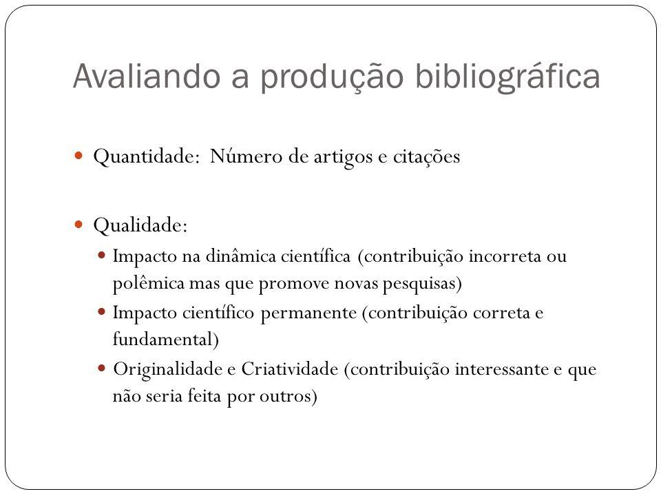 Avaliando a produção bibliográfica Quantidade: Número de artigos e citações Qualidade: Impacto na dinâmica científica (contribuição incorreta ou polêm