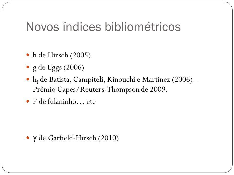 Novos índices bibliométricos h de Hirsch (2005) g de Eggs (2006) h I de Batista, Campiteli, Kinouchi e Martinez (2006) – Prêmio Capes/Reuters-Thompson