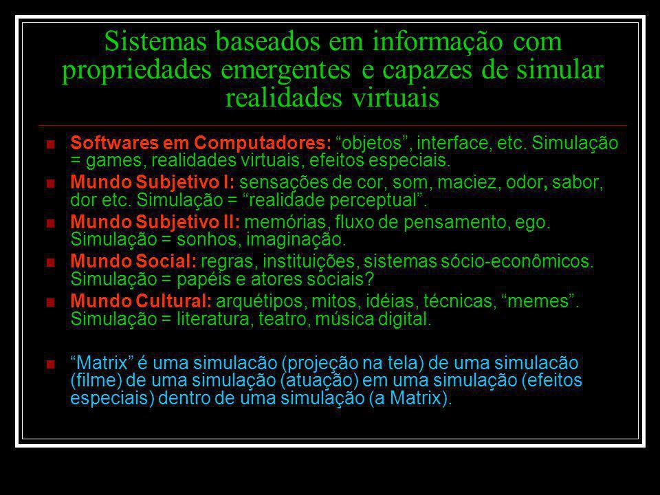Sistemas baseados em informação com propriedades emergentes e capazes de simular realidades virtuais Softwares em Computadores: objetos, interface, et