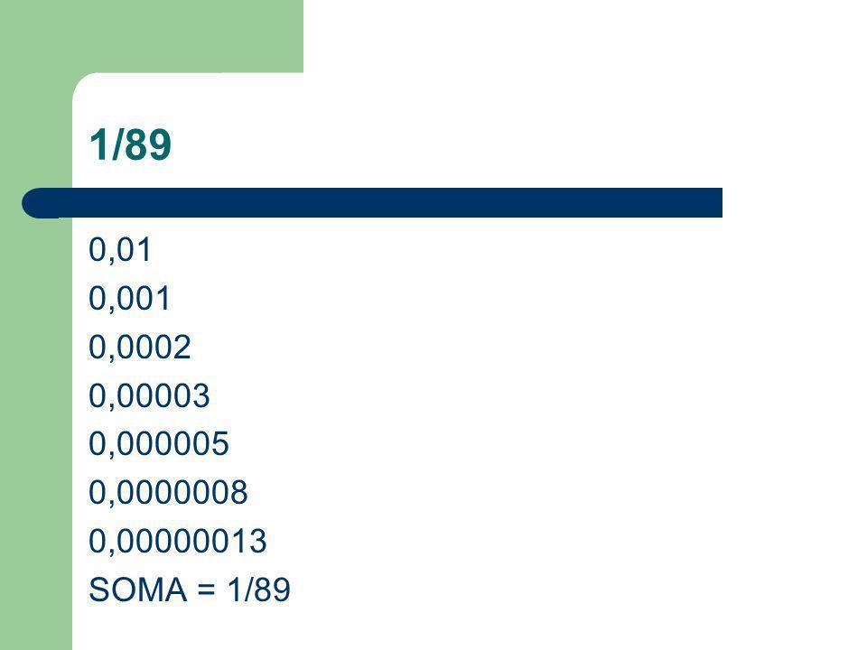 1/89 0,01 0,001 0,0002 0,00003 0,000005 0,0000008 0,00000013 SOMA = 1/89