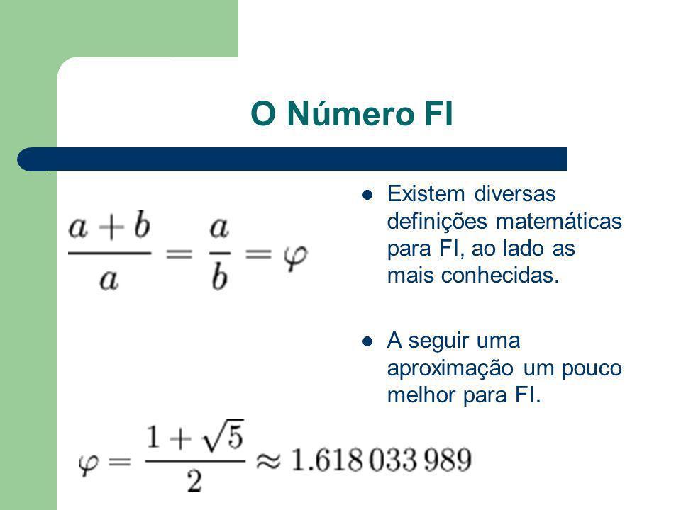 O Número FI Existem diversas definições matemáticas para FI, ao lado as mais conhecidas. A seguir uma aproximação um pouco melhor para FI.