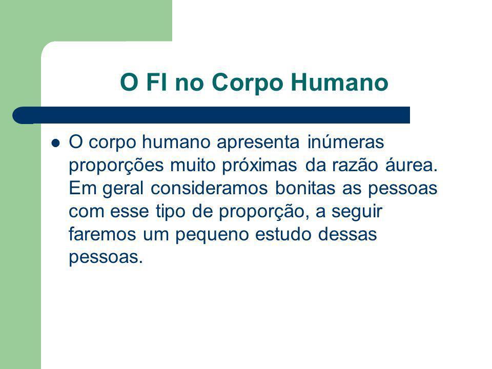 O FI no Corpo Humano O corpo humano apresenta inúmeras proporções muito próximas da razão áurea. Em geral consideramos bonitas as pessoas com esse tip