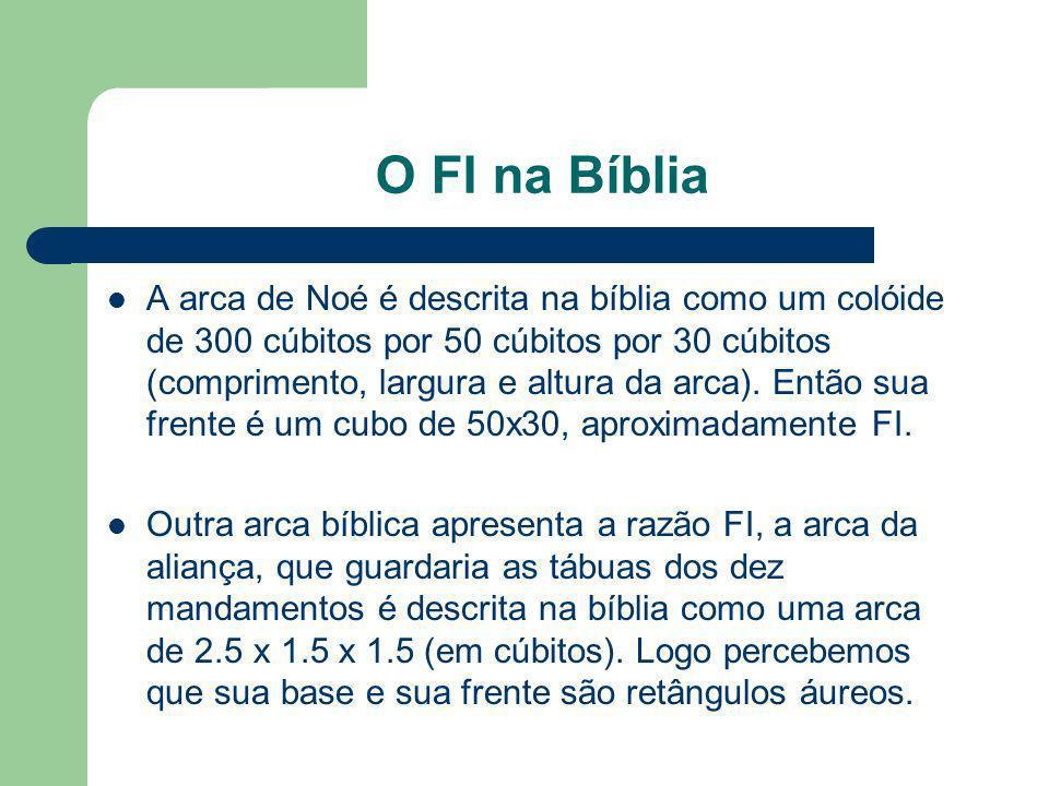 O FI na Bíblia A arca de Noé é descrita na bíblia como um colóide de 300 cúbitos por 50 cúbitos por 30 cúbitos (comprimento, largura e altura da arca)