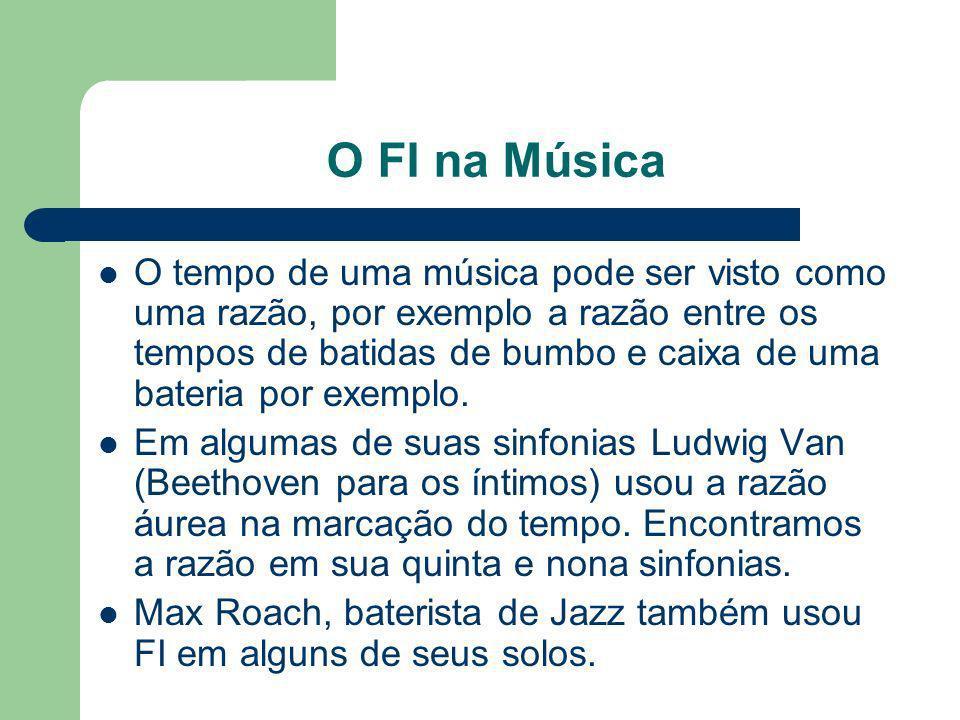 O FI na Música O tempo de uma música pode ser visto como uma razão, por exemplo a razão entre os tempos de batidas de bumbo e caixa de uma bateria por