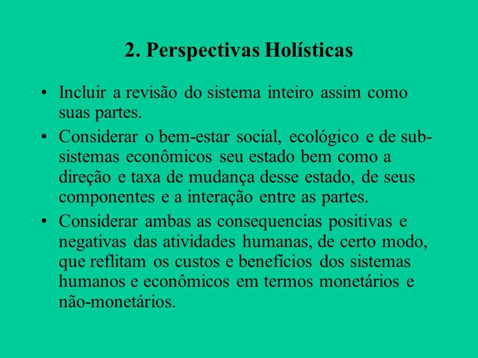 2.Perspectivas Holísticas Incluir a revisão do sistema inteiro assim como suas partes.