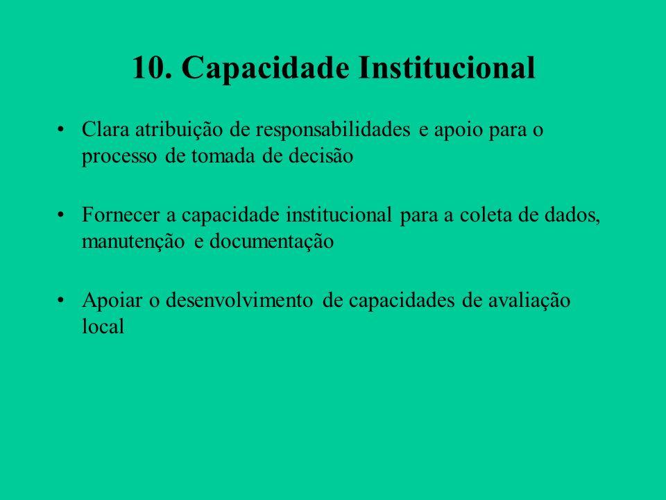 10. Capacidade Institucional Clara atribuição de responsabilidades e apoio para o processo de tomada de decisão Fornecer a capacidade institucional pa