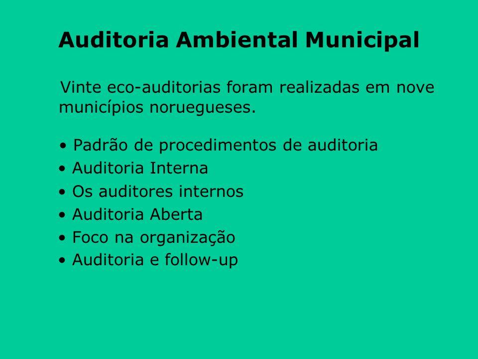 Auditoria Ambiental Municipal Vinte eco-auditorias foram realizadas em nove municípios noruegueses.