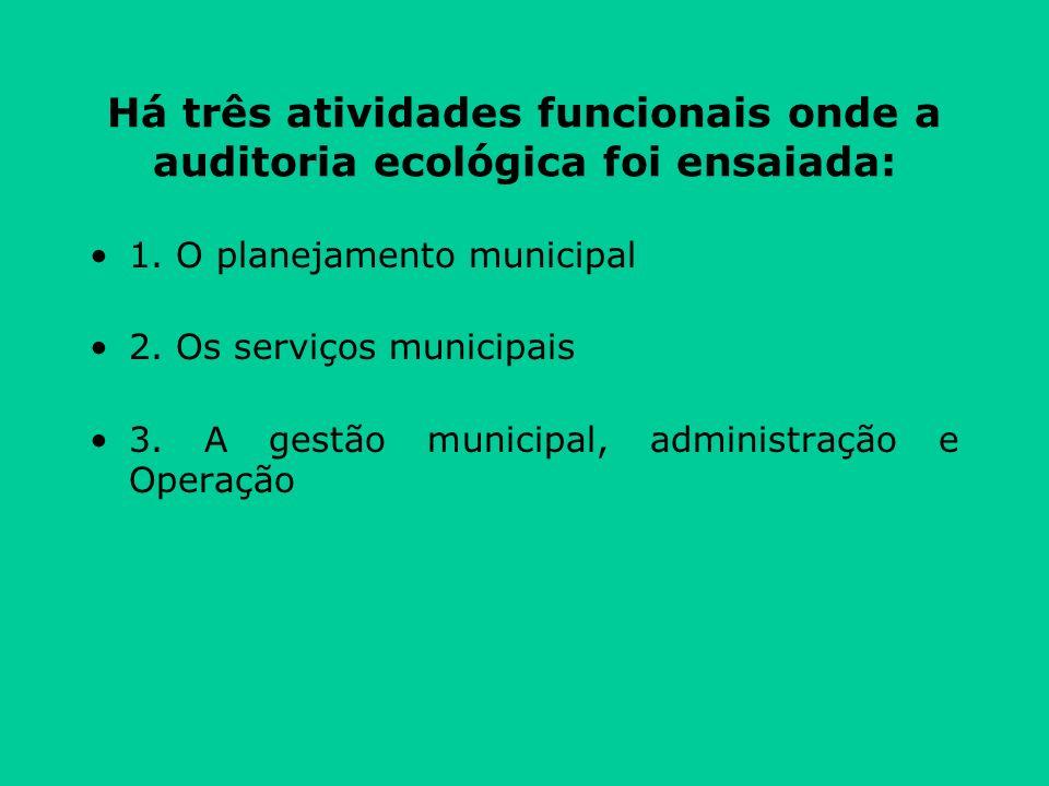 Há três atividades funcionais onde a auditoria ecológica foi ensaiada: 1.